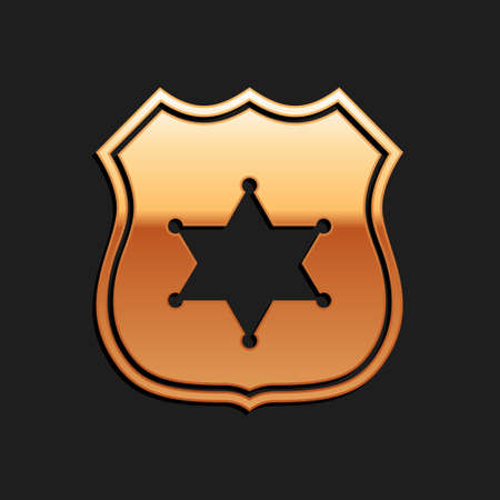 Gold Police badge icon isolated on black background. Sheriff badge sign. Long shadow style. Vector Illustration
