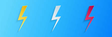 Paper cut Lightning bolt icon isolated on blue background. Flash icon. Charge flash icon. Thunder bolt. Lighting strike. Paper art style. Vector 向量圖像