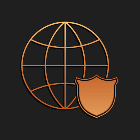 Gold Shield with world globe icon isolated on black background. Security, safety, protection, privacy concept. Long shadow style. Vector 일러스트