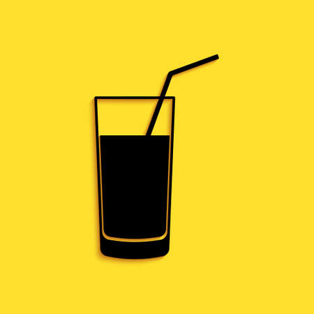 Black Soft drink icon isolated on yellow background. Long shadow style. Vector