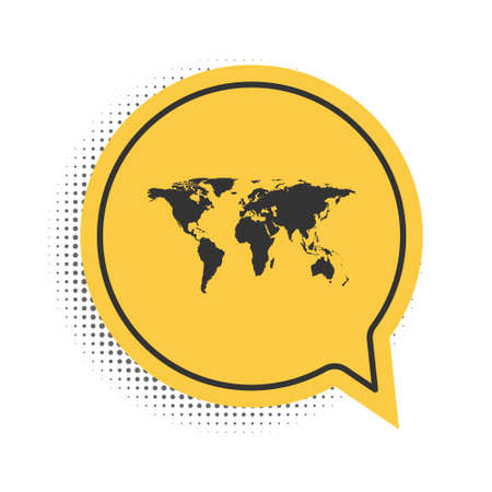 Black World map icon isolated on white background. Yellow speech bubble symbol. Vector