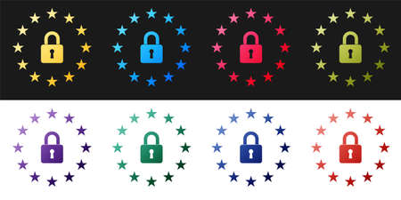 Set GDPR - General data protection regulation icon isolated on black and white background. European Union symbol. Security, safety, protection, privacy. Vector