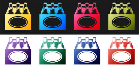 Set Pack of beer bottles icon isolated on black and white background. Case crate beer box sign. Vector