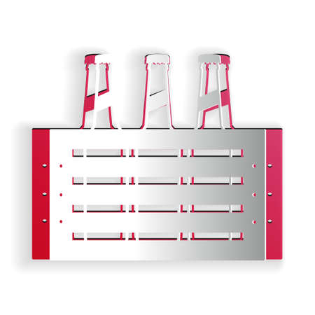 Paper cut Pack of beer bottles icon isolated on white background. Wooden box and beer bottles. Case crate beer box sign. Paper art style. Vector