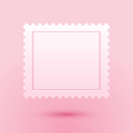 Paper cut Postal stamp icon isolated on pink background. Paper art style. Vector Vetores