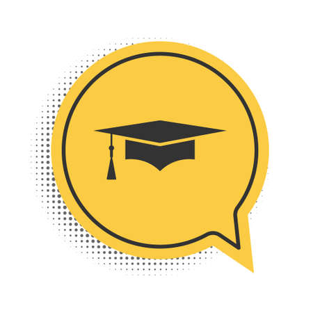 Black Graduation cap icon isolated on white background. Graduation hat with tassel icon. Yellow speech bubble symbol. Vector