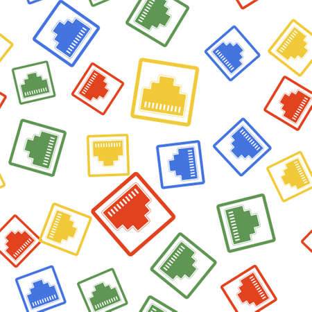 Color Network port - cable socket icon isolated seamless pattern on white background. LAN port icon. internet simple icon. Local area connector icon. Vector Ilustração