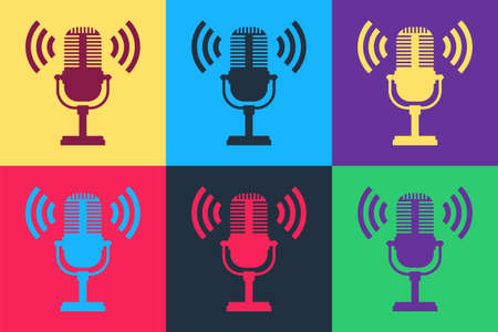Pop art Microphone icon isolated on color background. On air radio mic microphone. Speaker sign. Vector Ilustração