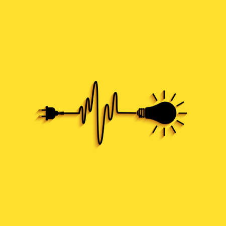 Black Wire plug and light bulb icon isolated on yellow background. Plug, lamp and cord in the form of heartbeat. Concept of Electricity and lighting. Long shadow style. Vector 向量圖像