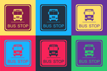Pop art Bus stop icon isolated on color background. Vector