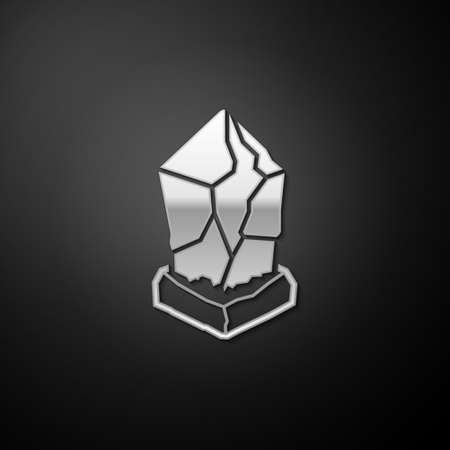 Silver Cryptocurrency coin Ethereum classic ETC icon isolated on black background. Digital currency. Blockchain based secure cryptocurrency. Long shadow style. Vector