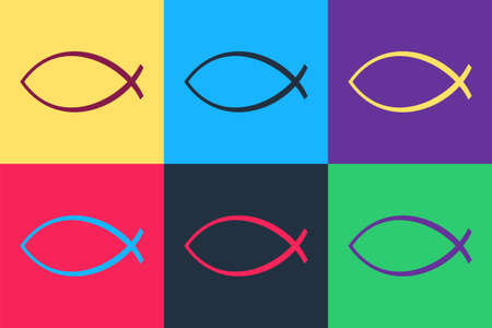 Pop art Christian fish symbol icon isolated on color background. Jesus fish symbol. Vector