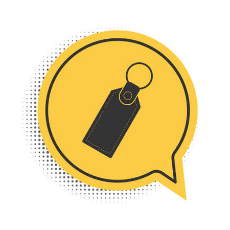 Black Rectangular key chain with ring for key icon isolated on white background. Yellow speech bubble symbol. Vector