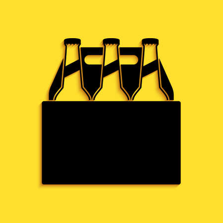 Black Pack of beer bottles icon isolated on yellow background. Case crate beer box sign. Long shadow style. Vector