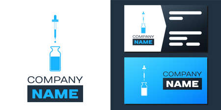 Logotype Glass bottle with a pipette. Vial with a pipette inside and lid icon isolated on white background. Container for medical and cosmetic product. Logo design template element. Vector