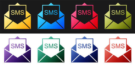 Set Envelope icon isolated on black and white background. Received message concept. New, email incoming message, sms. Mail delivery service. Vector