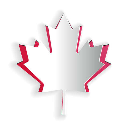 Paper cut Canadian maple leaf icon isolated on white background. Canada symbol maple leaf. Paper art style. Vector
