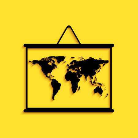 Black World map on a school blackboard icon isolated on yellow background. Drawing of map on chalkboard. Long shadow style. Vector