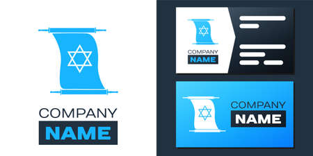 Logotype Torah scroll icon isolated on white background. Jewish Torah in expanded form. Torah Book. Star of David symbol. Simple old parchment scroll. Logo design template element. Vector
