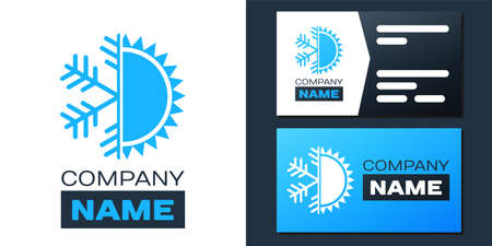 Logotype Hot and cold symbol. Sun and snowflake icon isolated on white background. Winter and summer symbol.