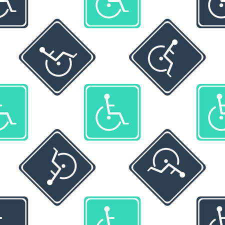 Green Disabled handicap icon isolated seamless pattern on white background. Wheelchair handicap sign. Vector