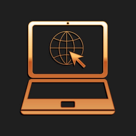 Gold Website on laptop screen icon isolated on black background. Laptop with globe and cursor. World wide web symbol. Long shadow style. Vector Векторная Иллюстрация