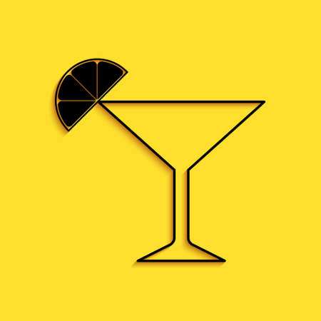 Black Martini glass icon isolated on yellow background. Cocktail with lime symbol. Long shadow style. Vector
