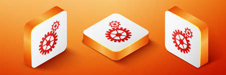 Isometric Gear icon isolated on orange background. Cogwheel gear settings sign. Cog symbol. Orange square button. Vector
