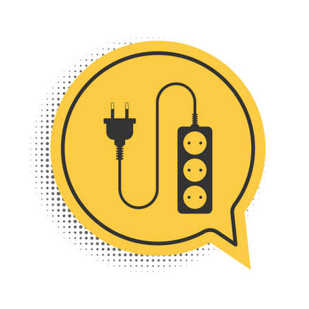 Black Electric extension cord icon isolated on white background. Power plug socket. Yellow speech bubble symbol. Vector Vecteurs