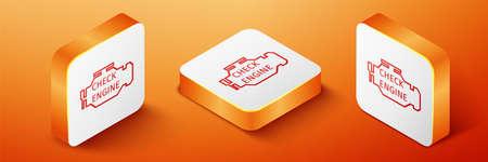 Isometric Check engine icon isolated on orange background. Orange square button. Vector