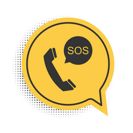 Black SOS call icon isolated on white background. 911, emergency, help, warning, alarm. Yellow speech bubble symbol. Vector