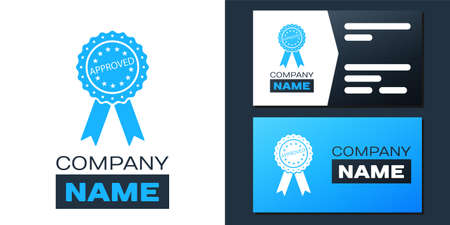 Logotype Approved or certified medal badge with ribbons icon isolated on white background. Approved seal stamp sign.