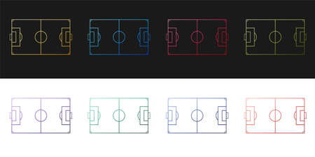 Set Football field or soccer field icon isolated on black and white background. Vector
