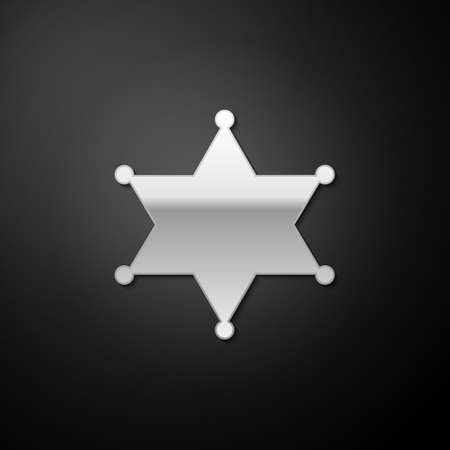 Silver Hexagram sheriff icon isolated on black background. Police badge icon. Long shadow style. Vector