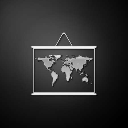 Silver World map on a school blackboard icon isolated on black background. Drawing of map on chalkboard. Long shadow style. Vector