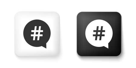 Black and white Hashtag in circle icon isolated on white background. Social media symbol, concept of number sign, social media, micro blogging pr popularity. Square button. Vector