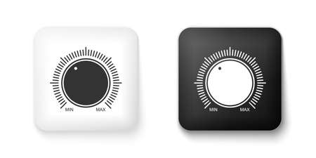 Black and white Dial knob level technology settings icon isolated on white background. Volume button, sound control, music knob with scale, analog regulator. Square button. Vector