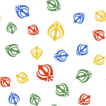 Color Sikhism religion Khanda symbol icon isolated seamless pattern on white background. Khanda Sikh symbol. Vector