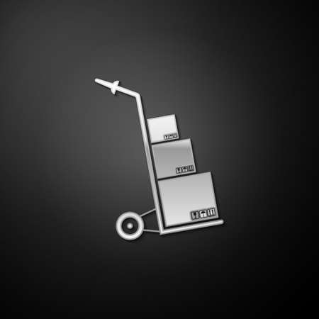 Silver Hand truck and boxes icon isolated on black background. Dolly symbol. Long shadow style. Vector Stock Illustratie