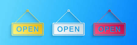 Paper cut Hanging sign with text Open door icon isolated on blue background. Paper art style. Vector