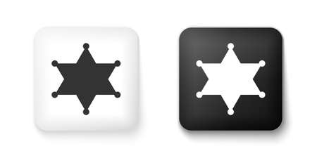 Black and white Hexagram sheriff icon isolated on white background. Police badge icon. Square button. Vector
