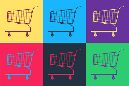 Pop art Shopping cart icon isolated on color background. Online buying concept. Delivery service sign. Supermarket basket symbol. Vector