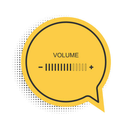 Black Volume adjustment icon isolated on white background. Yellow speech bubble symbol. Vector 向量圖像