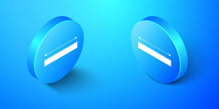 Isometric The measuring height and length icon isolated on blue background. Ruler, straightedge, scale symbol. Blue circle button. Vector