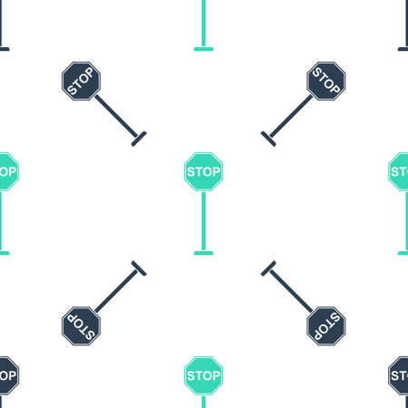 Green Stop icon isolated seamless pattern on white background. Traffic regulatory warning stop symbol. Vector 向量圖像