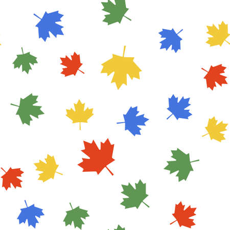 Color Canadian maple leaf icon isolated seamless pattern on white background. Canada symbol maple leaf. Vector