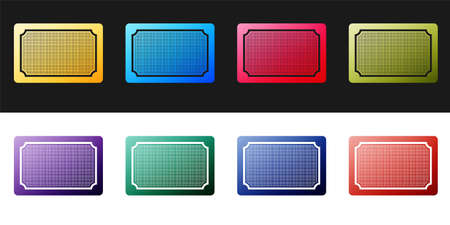 Set Doormat icon isolated on black and white background. Welcome mat sign. Vector