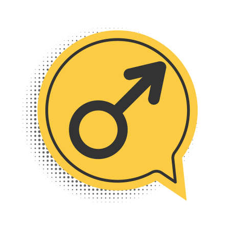 Black Male gender symbol icon isolated on white background. Yellow speech bubble symbol. Vector
