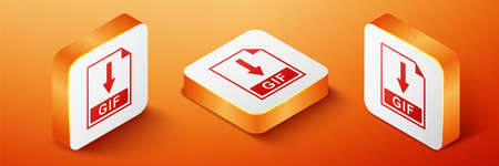 Isometric GIF file document icon. Download GIF button icon isolated on orange background. Orange square button. Vector