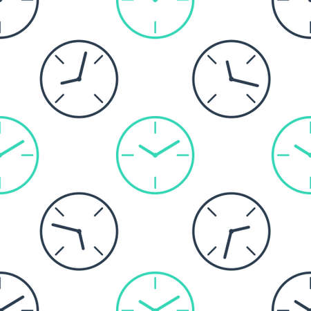Green Clock icon isolated seamless pattern on white background. Time symbol. Vector 向量圖像